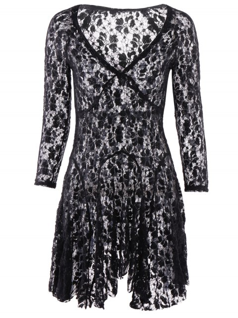 best Lace 3/4 Sleeve Solid Color Dress - BLACK XL Mobile