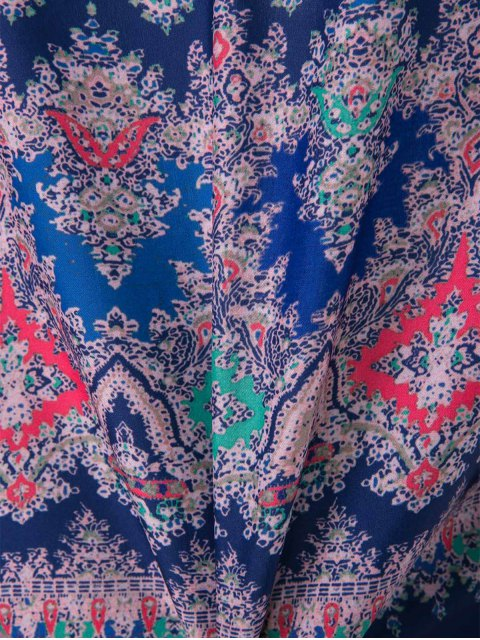 shops V-Neck Draped Sleeve Single-Breasted Drawstring Design Dress - BLUE M Mobile