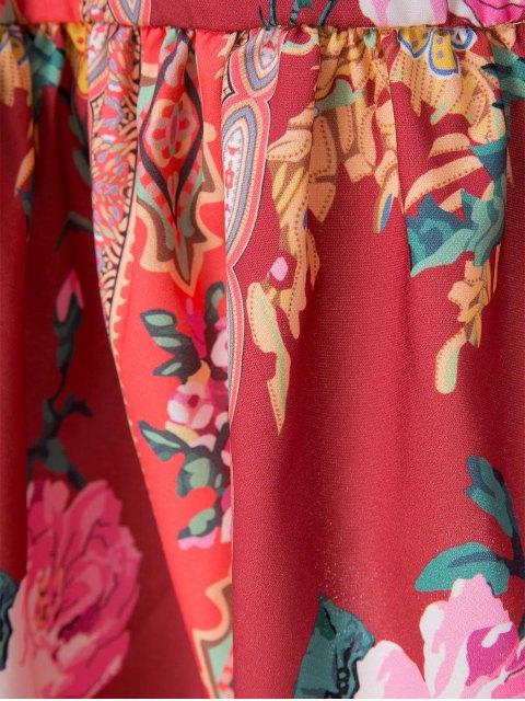 chic Ethnic Print V Neck Long Sleeve Dress - ORANGE RED L Mobile