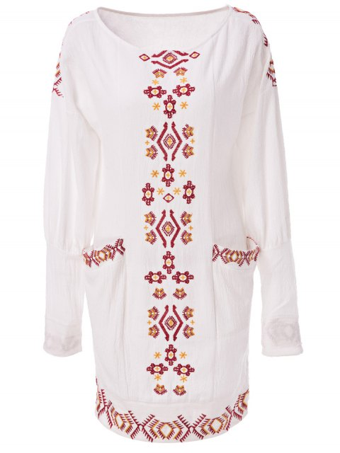 latest Ethnic Embroidery Scoop Neck Long Sleeve Dress - OFF-WHITE S Mobile