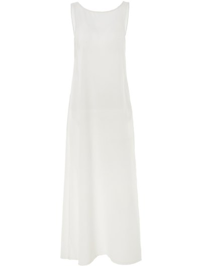 White Round Neck Backless Cover-Up - White