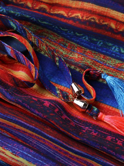 Cold Shoulder Multi-Colored Dress - COLORMIX L Mobile