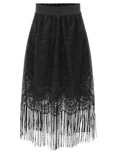 Black Fringe High Waist A-Line Lace Skirt - BLACK XL Mobile