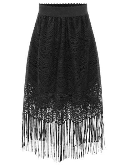 Black Fringe High Waist A-Line Lace Skirt - BLACK S Mobile