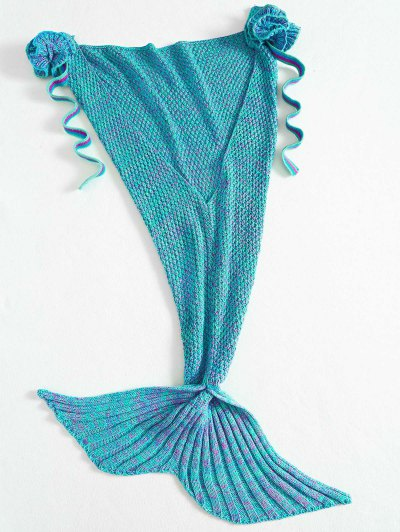 Knitted Floral Mermaid Tail Blanket - GREEN  Mobile