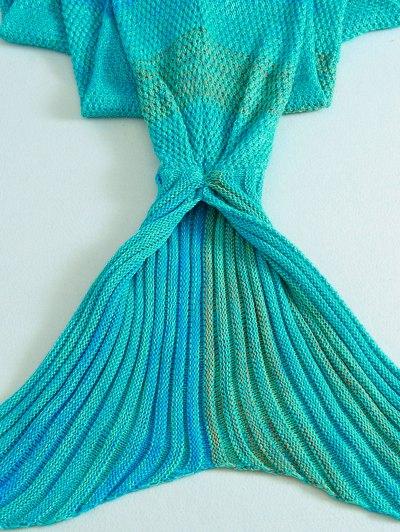 Stripe Mermaid Tail Shape Blanket - LAKE BLUE  Mobile