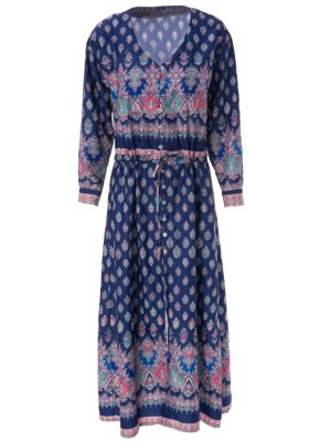 V-Neck Draped Sleeve Single-Breasted Drawstring Design Dress