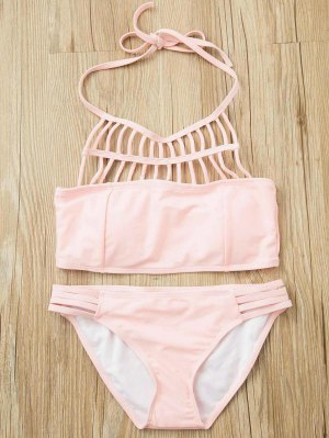 Pink Halter Hollow Out Bathing Suit - Pink