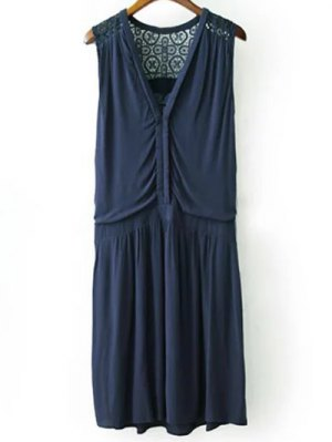 Lace Splice Plunging Neck Sleeveless Dress - Cadetblue