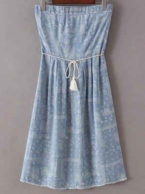 Denim Bandeau Printed Dress - Light Blue