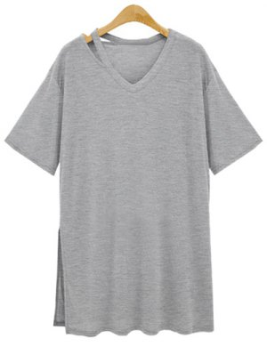 Loose Side Slit V Neck Short Sleeve T-Shirt - Gray