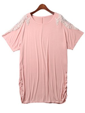 Loose Lace Spliced Round Neck Bat-Wing Sleeve Dress - Pink