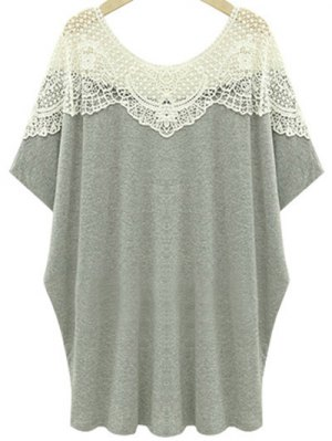 Cut Out Lace Spliced Round Neck Short Sleeve T-Shirt - Light Gray
