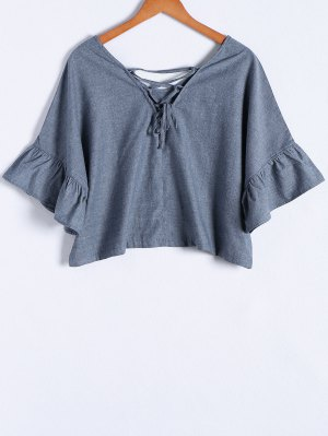 Blue Denim V Neck Half Sleeve Blouse - Blue