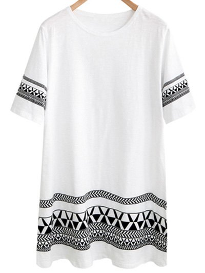 Round Neck Short Sleeve Loose Geometric Print Dress