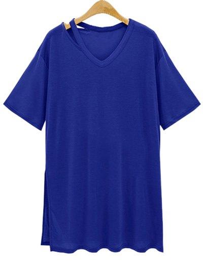 Loose Side Slit V Neck Short Sleeve T-Shirt - DEEP BLUE L
