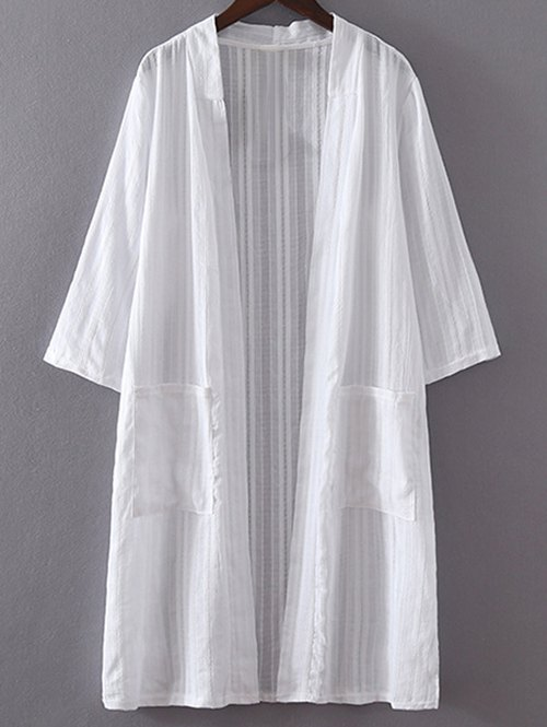White Pocket 3/4 Sleeve Trench Coat