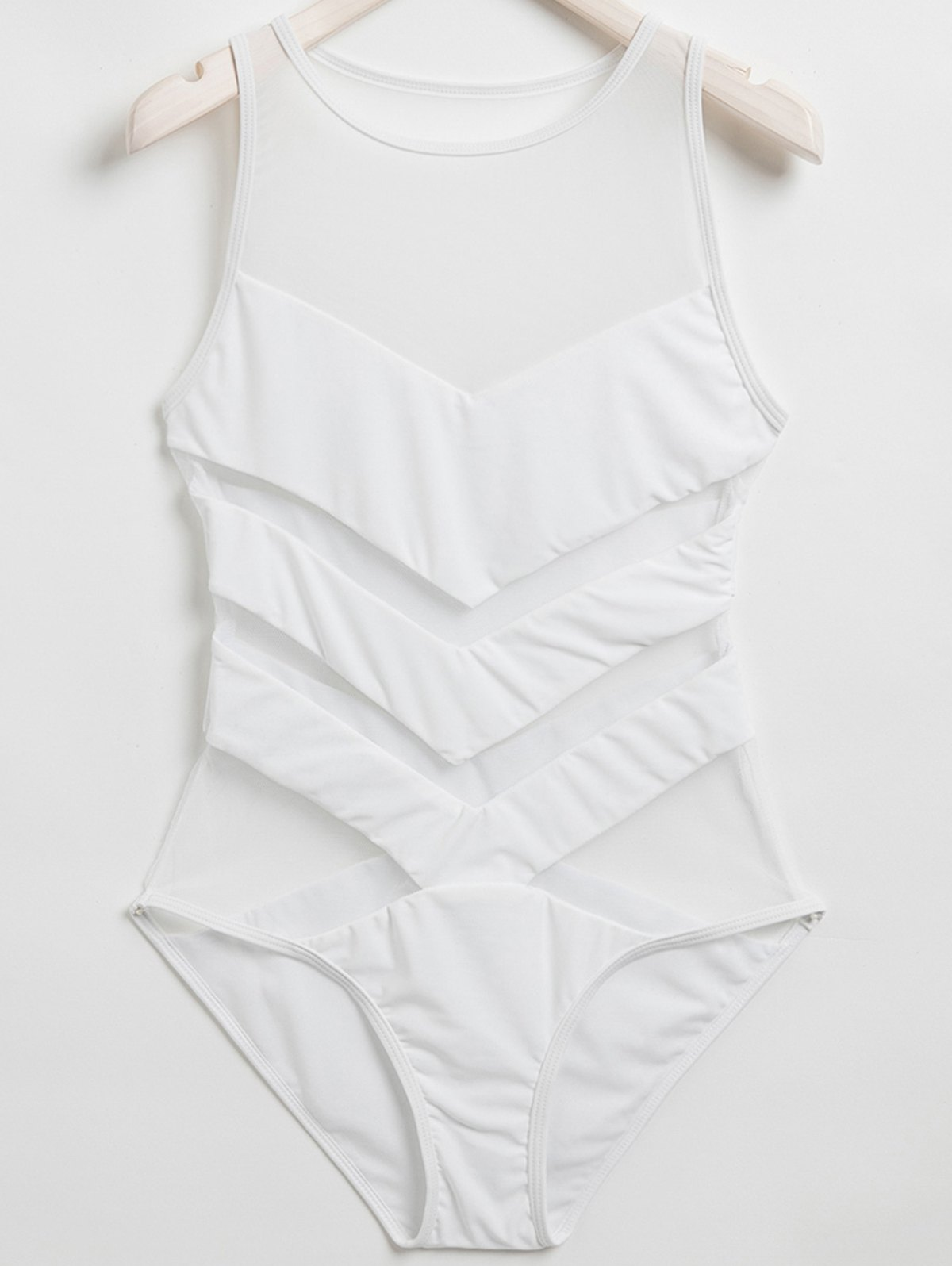 Jewel Neck Voile Spliced One-Piece Swimwear