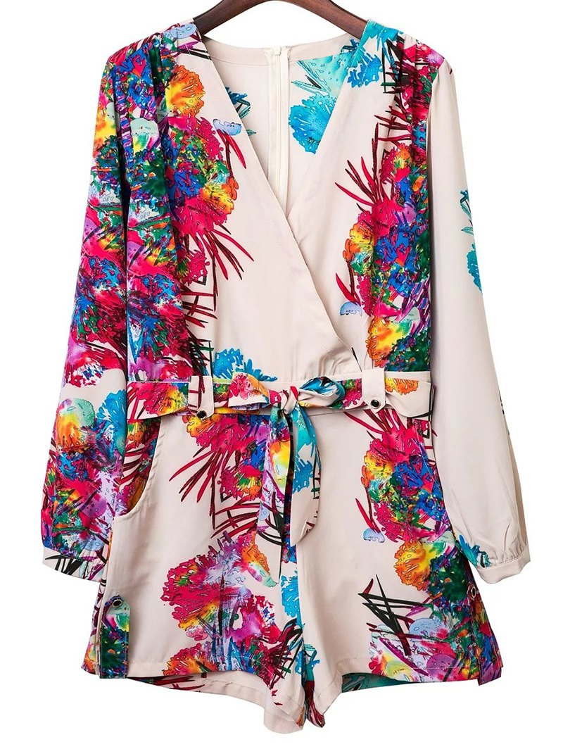 V Neck Long Sleeve Colored Print Romper