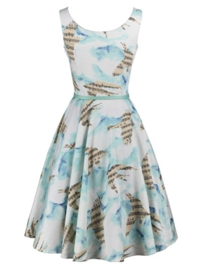 Bird Pattern Music Note Skater Dress