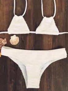 Solid Color Halter Neck Bikini Set