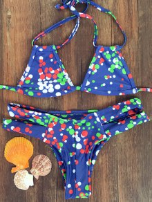 Colorful Polka Dot Halter Bikini Set