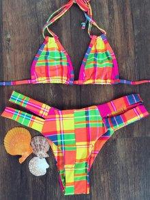 Checked Halter Bikini Set - L