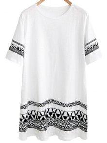 Loose Geometric Print Round Neck Short Sleeve Dress - WHITE 5XL