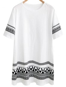 Loose Geometric Print Round Neck Short Sleeve Dress