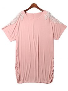 Loose Lace Spliced Round Neck Bat-Wing Sleeve Dress