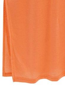 Loose Side Slit V Neck Short Sleeve T-Shirt - YELLOW M