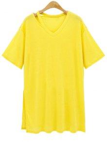 Loose Side Slit V Neck Short Sleeve T-Shirt