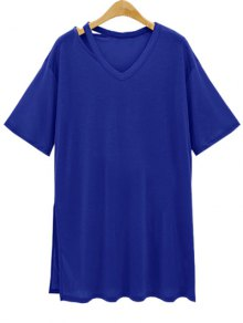 Loose Side Slit V Neck Short Sleeve T-Shirt - Deep Blue M