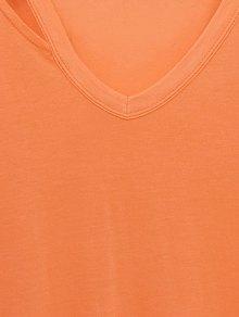 Loose Side Slit V Neck Short Sleeve T-Shirt - ORANGEPINK L