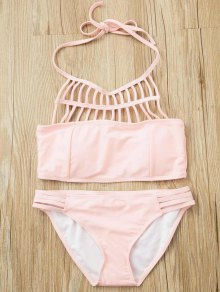 Pink Halter Hollow Out Bathing Suit