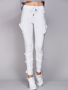 Drawstring White Pockets Pants