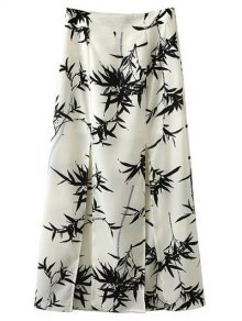 Front Slit Bamboo Print Skirt