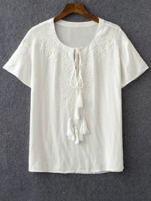 Embroidery White Round Neck Short Sleeve T-Shirt