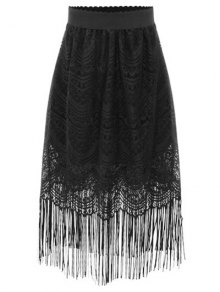 Black Fringe High Waist A-Line Lace Skirt