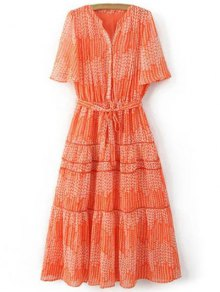 Print V Neck Short Sleeve Maxi Dress - Orangepink