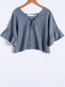 Blue Denim V Neck Half Sleeve Blouse - Blue S