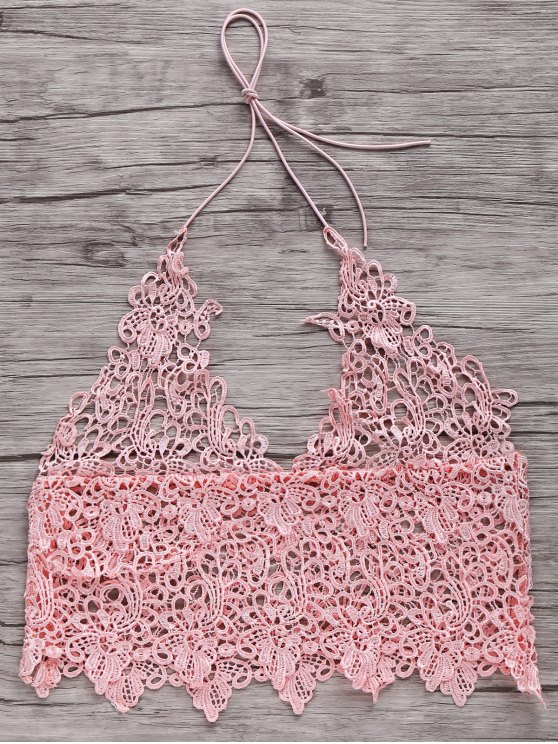 shop Short Solid Color Cami Lace Tank Top - PINK M
