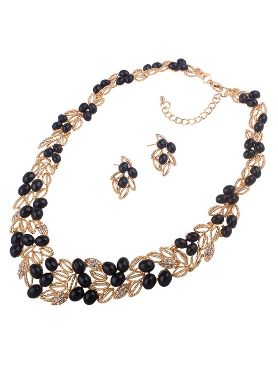 fashion Beads Leaf Necklace and Earrings - BLACK