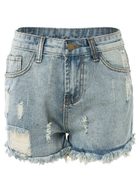 affordable High Waisted Ripped Denim Shorts - LIGHT BLUE M