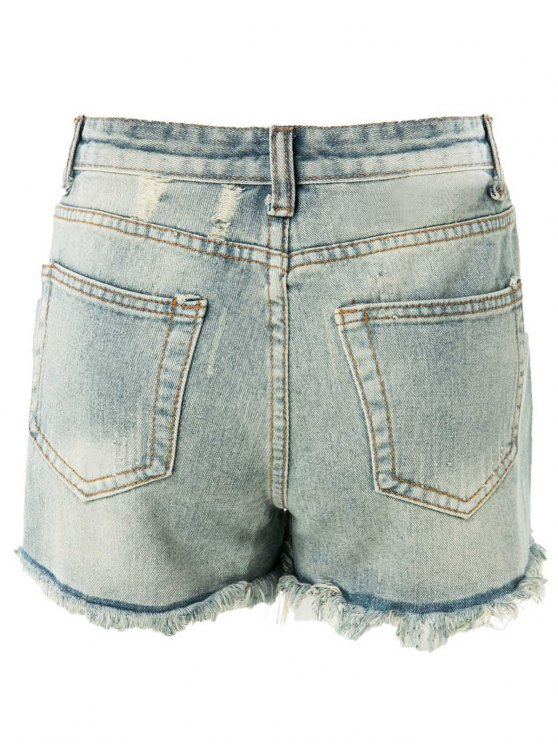 High Waisted Ripped Denim Shorts - LIGHT BLUE S Mobile