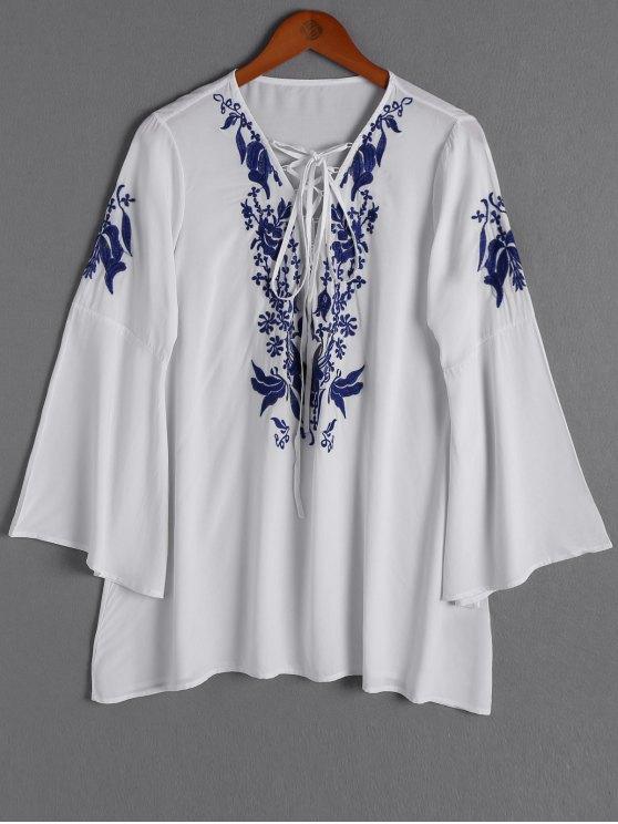 Floral bordado Hundiendo cuello manga larga blusa - Blanco Un tamaño(Montar tam