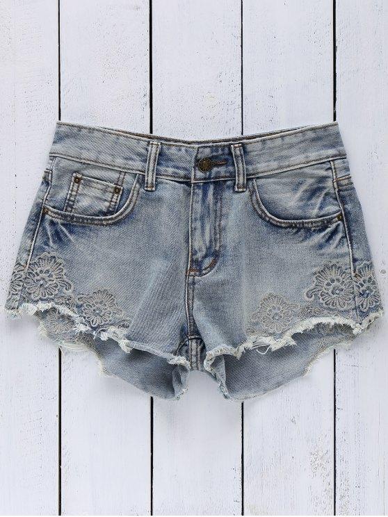 Pantalones cortos del dril de algodón bordado de la alta Wasit - Azul Claro S