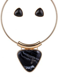 Acrylic Triangle Necklace And Earrings - Black