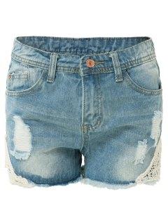 Frayed Lace Detail Denim Shorts - Light Blue S