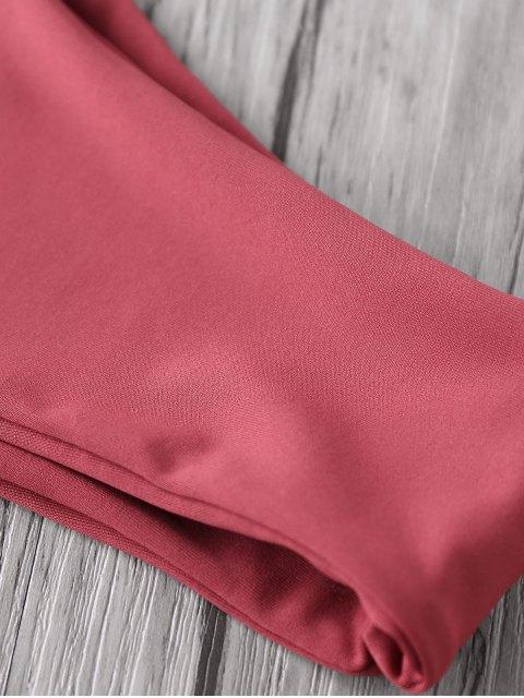 fashion Color Block Halter Elastic Bikini Set - PURPLISH BLUE S Mobile